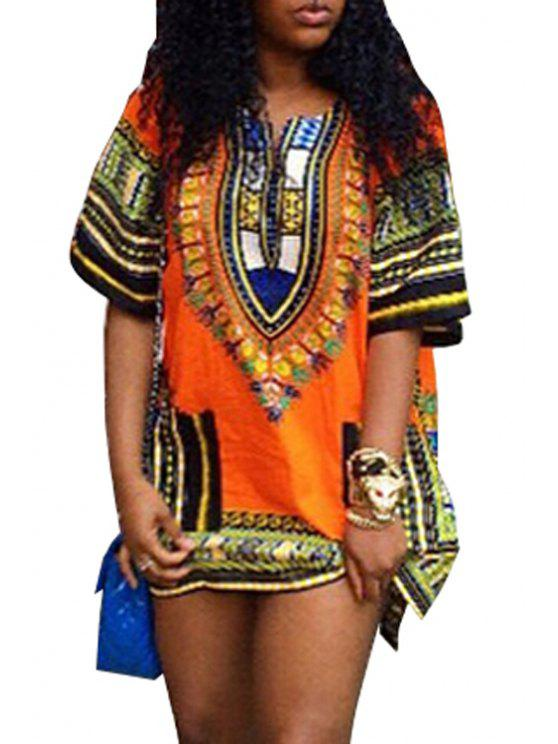 latest V-Neck Tribal Pattern Dress - ORANGE XL