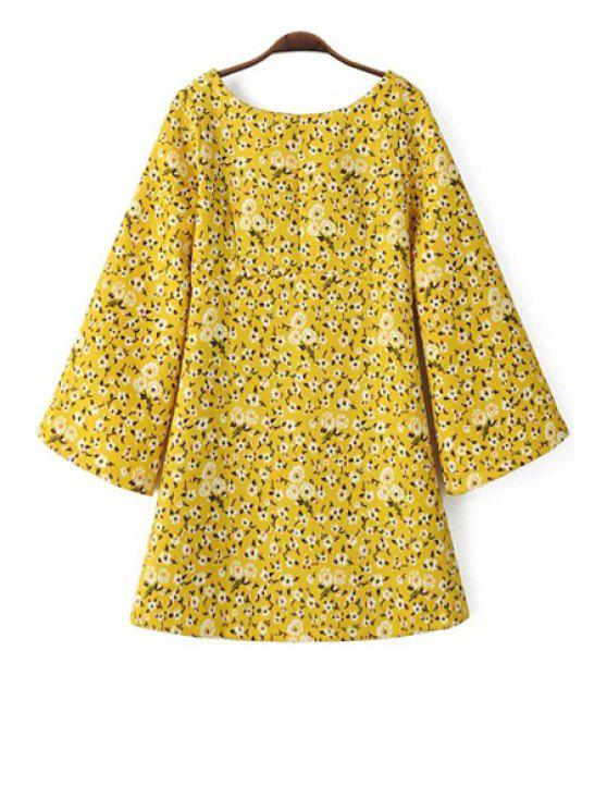 best Tiny Floral Print Scoop Neck Long Sleeve Dress - YELLOW L