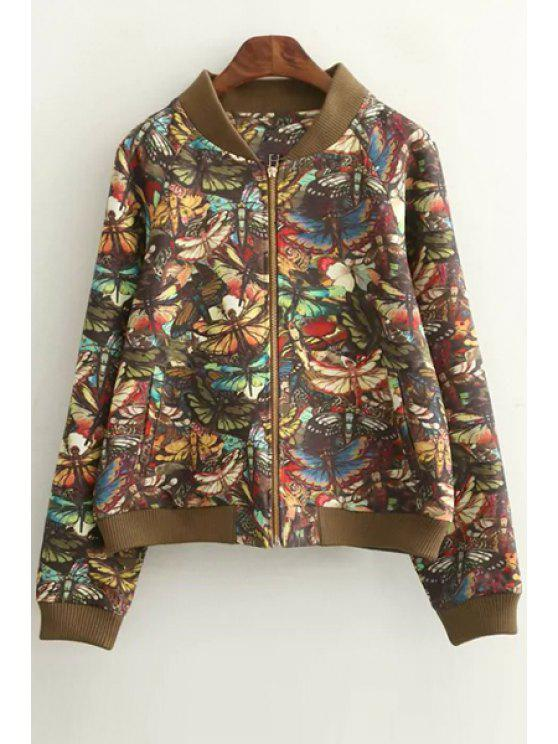 chic Dragonfly Print Stand Neck Long Sleeve Jacket - COLORMIX S