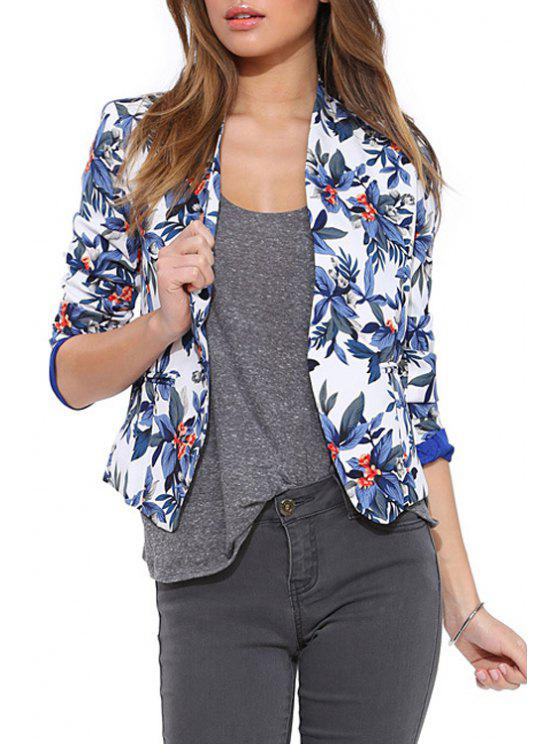 chic Blue Floral Long Sleeve Blazer - BLUE XS