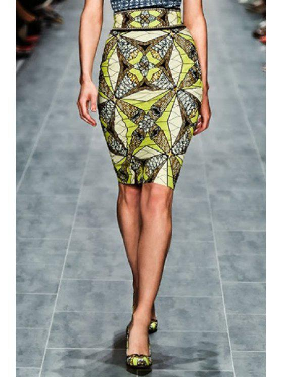 online High-Waisted Abstract Print Pencil Skirt - YELLOW S