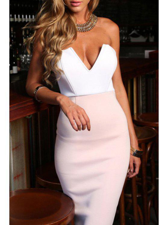 shops Packet Buttocks Bandeau Club Dress - WHITE S