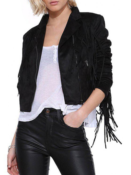 sale Black Tassels Lapel Long Sleeve Jacket - BLACK XS