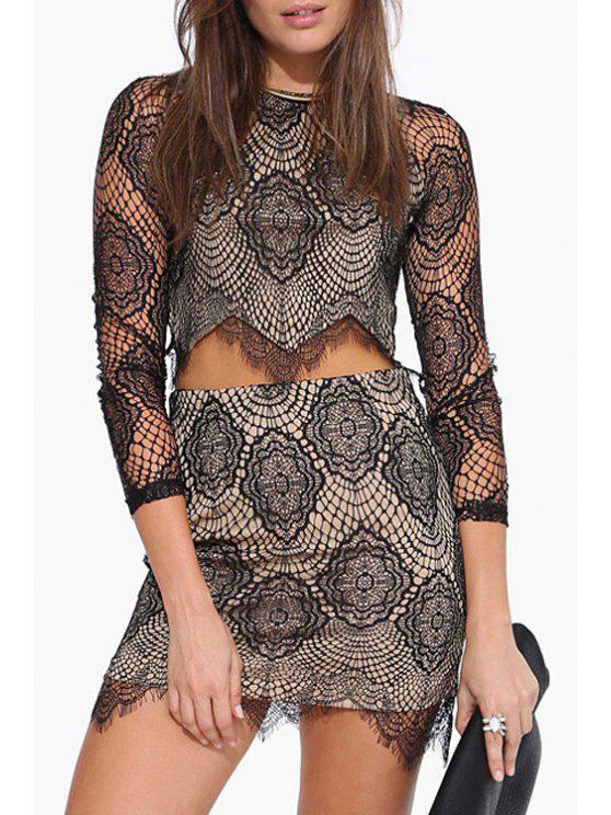 chic Lace Round Neck 3/4 Sleeve Crop Top - BLACK 2XL