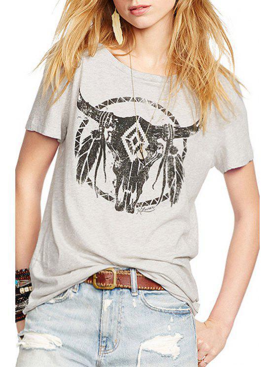 hot Bull Print Scoop Neck Short Sleeve T-Shirt - GRAY XS