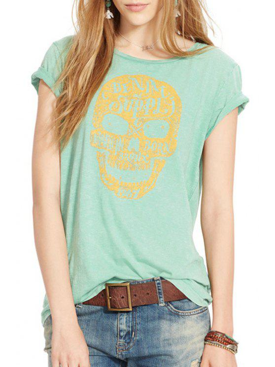 womens Skull Print Short Sleeves T-Shirt - GREEN XS