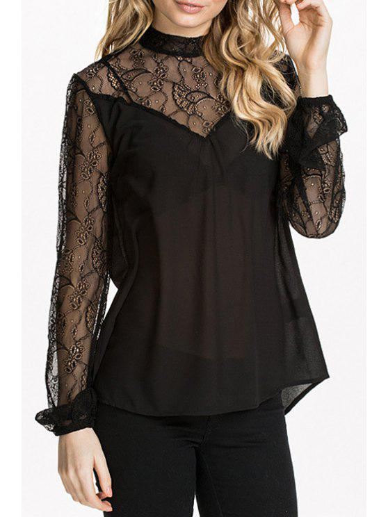 chic Lace Spliced Black Stand Neck Blouse - BLACK XS