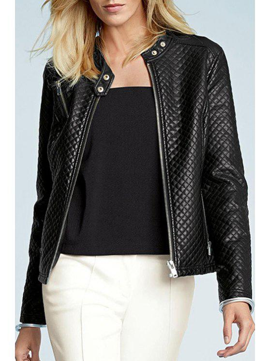 outfit PU Leather Black Stand Neck Long Sleeves Jacket - BLACK XS
