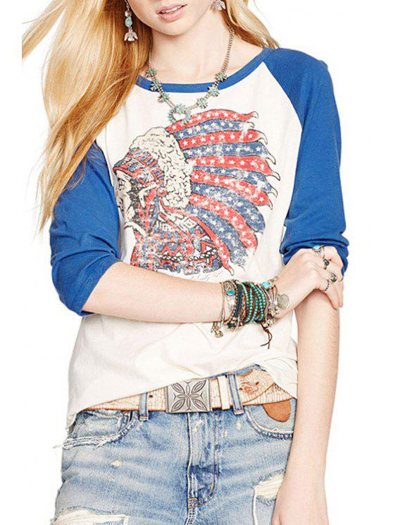 shop Indian Chief Print 3/4 Sleeve T-Shirt - WHITE XS
