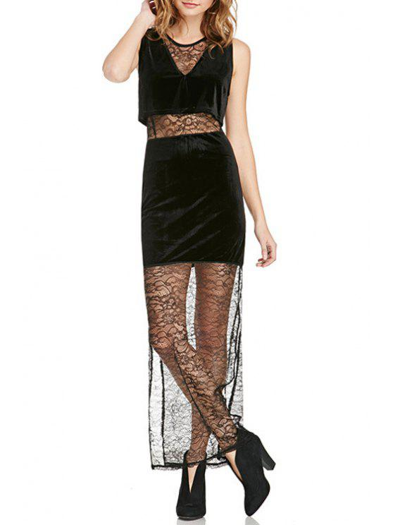 online Lace Spliced Jewel Neck Sleeveless Dress - BLACK XS