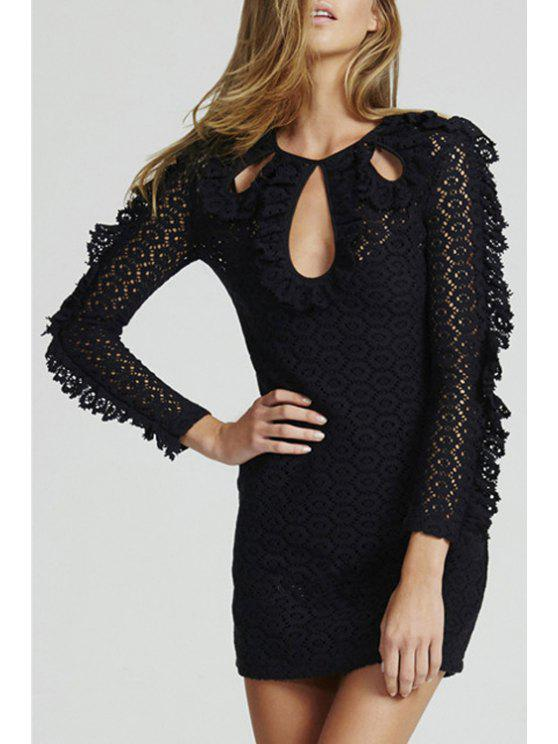 new Lace Keyhole Neckline Long Sleeve Dress - BLACK M