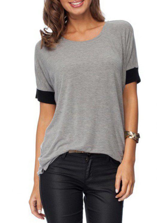 best Color Block Scoop Collar Short Sleeve T-Shirt - GRAY M