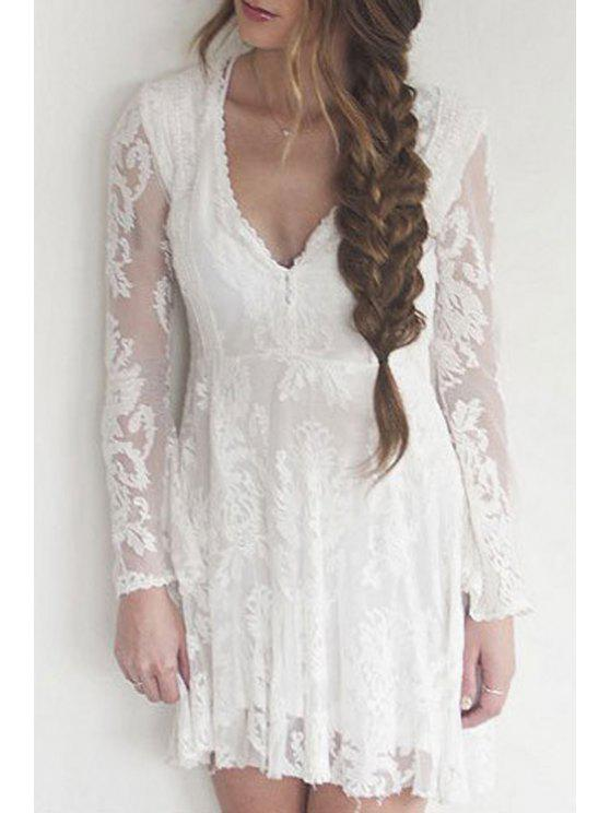 outfits Lace Plunging Neck Long Sleeve A Line Dress - WHITE S