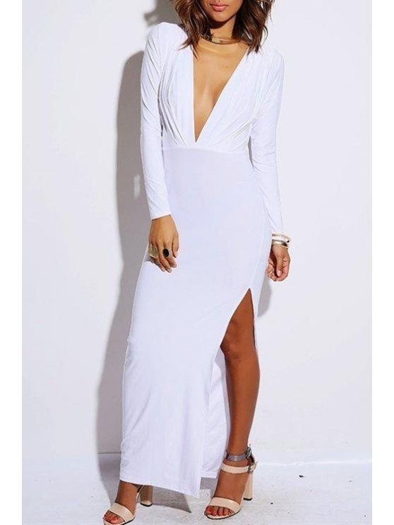 fashion Solid Color Plunging Neck Long Sleeves Maxi Dress - WHITE M
