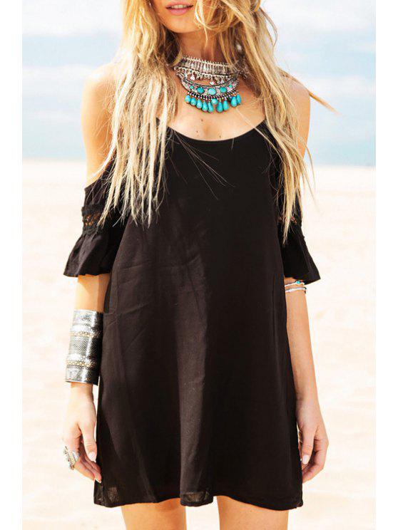 shops Black Cami Half Sleeve Dress - BLACK S