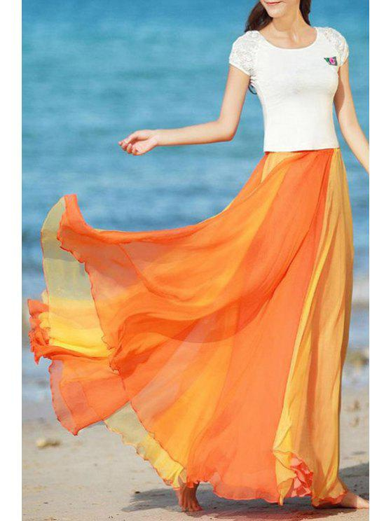 new Color Block A Line Chiffon Skirt - ORANGE ONE SIZE(FIT SIZE XS TO M)