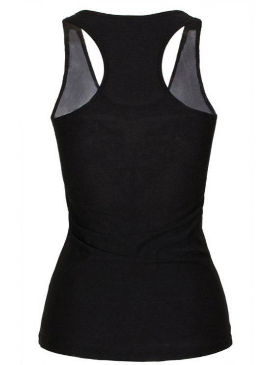 womens Black Stylish Lady Smile Print Women's Tank Top - BLACK ONE SIZE(FIT SIZE XS TO M)