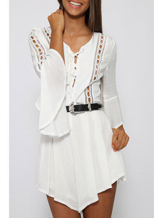 ladies White V Neck 3/4 Sleeve Romper - WHITE S