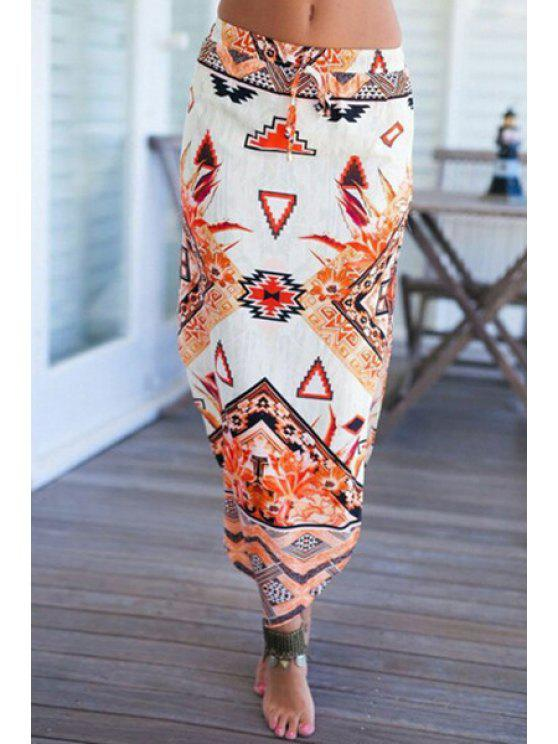 trendy Drawstring Printed Irregular Hem Skirt - OFF-WHITE XS