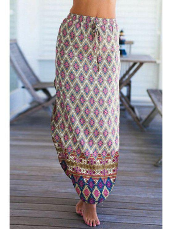 affordable Side Slit Printed Long Skirt - WHITE S