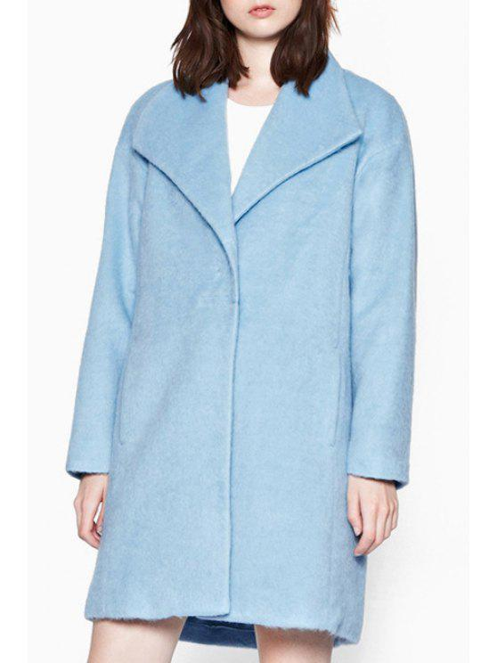 lady Solid Color Blue Wool Coat - BLUE XS