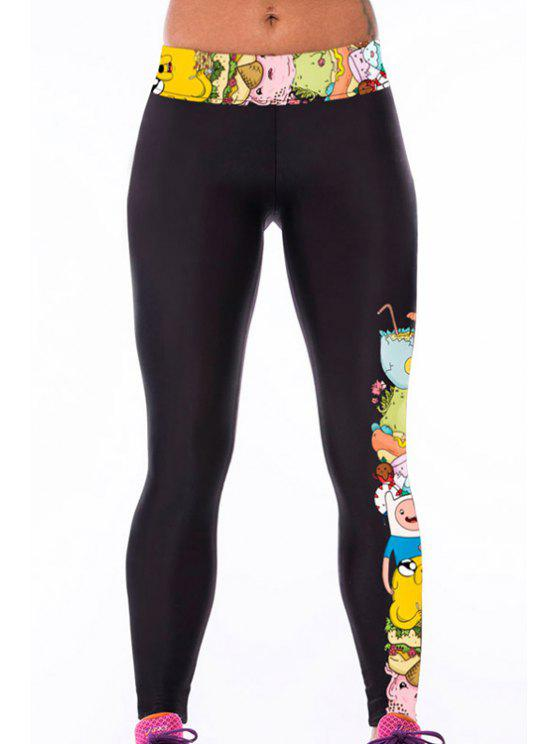 online High Waisted Cartoon Print Yoga Leggings - BLACK ONE SIZE(FIT SIZE XS TO M)
