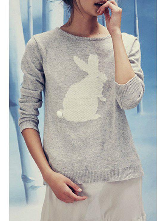 women's Rabbit Pattern Jacquard Sweater - LIGHT GRAY XS