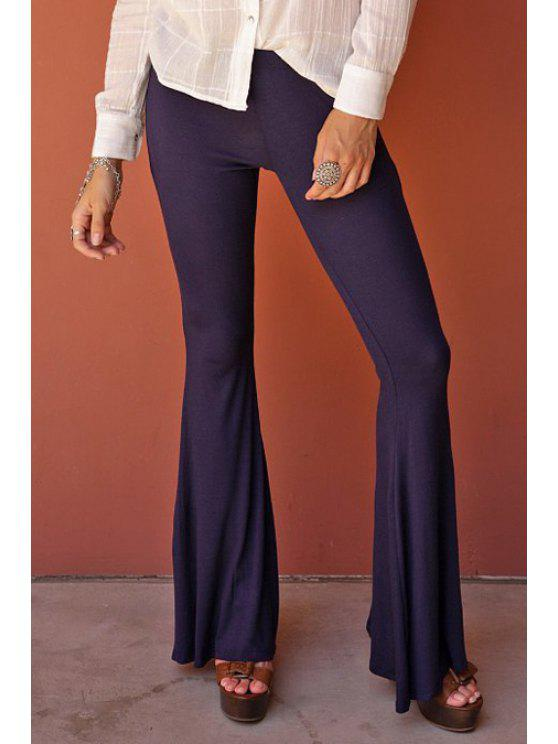 fancy Flare Solid Color Pants - DEEP PURPLE M