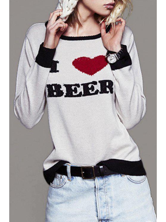 Suéter bordado corazón de la letra - Blanco XL