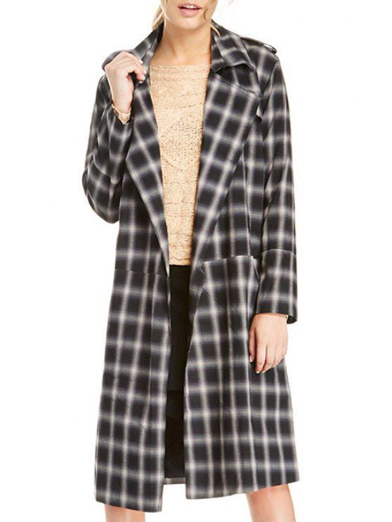 outfit Lapel Plaid Wool Coat - BLACK XS