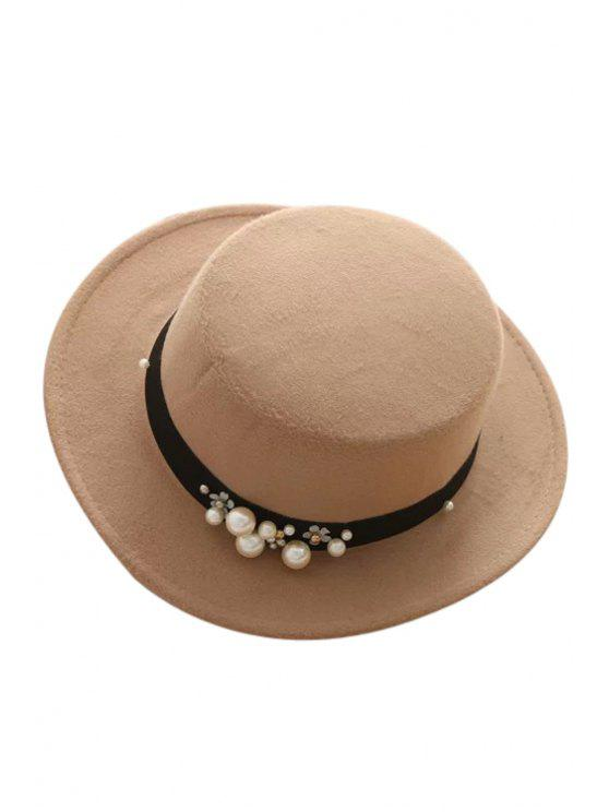 best Faux Pearl Strappy Flat Top Felt Hat - KHAKI