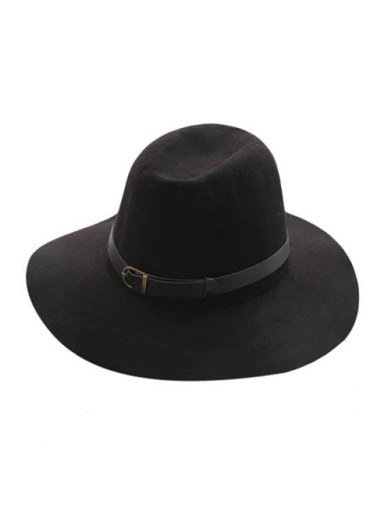 fashion Belt Felt Vintage Hat - BLACK