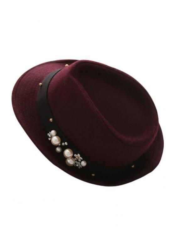 unique Faux Pearl Flower Jazz Hat - WINE RED