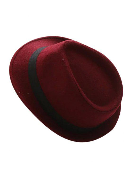 affordable Black Strappy Jazz Hat - WINE RED