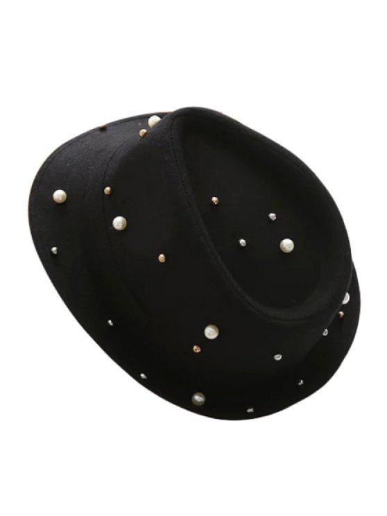 women Faux Pearl Jazz Hat - BLACK