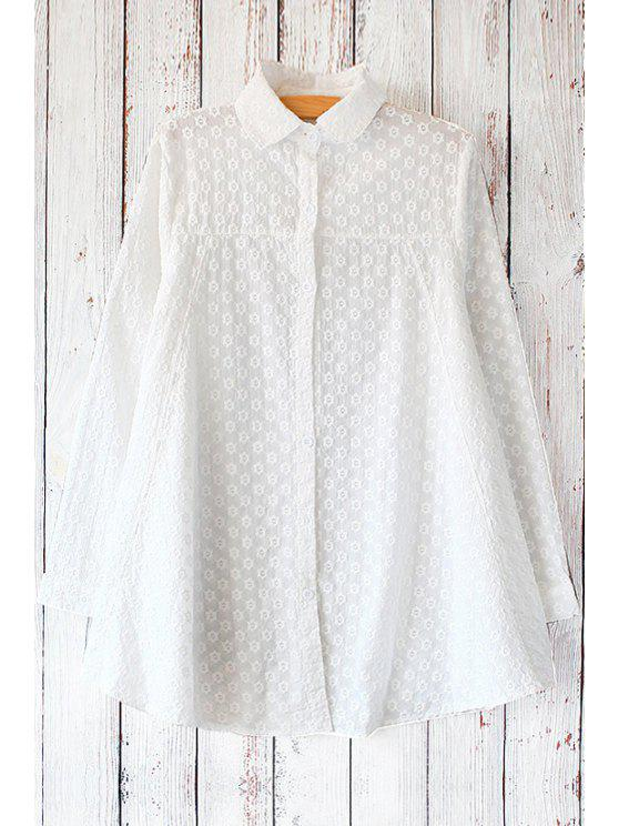 new Tiny Floral Embroidered Shirt - WHITE ONE SIZE(FIT SIZE XS TO M)