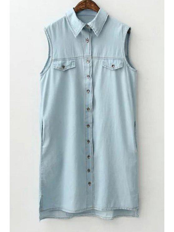 sale Solid Color Sleeveless Flat Collar Denim Shirt Dress - LIGHT BLUE S