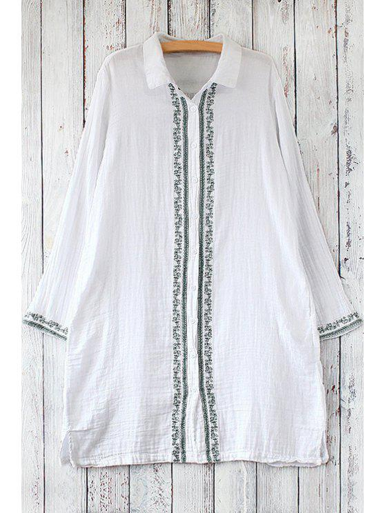 shops Single-Breasted Embroidered Blouse - WHITE ONE SIZE(FIT SIZE XS TO M)