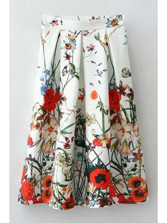lady Flower Printed High Waisted Pleated Skirt - WHITE S