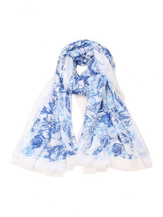 outfits Blue and White Printed Fringed Scarf - BLUE