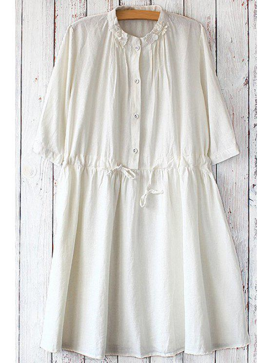 women's Stand Neck Drawstring Tunic Dress - WHITE ONE SIZE(FIT SIZE XS TO M)