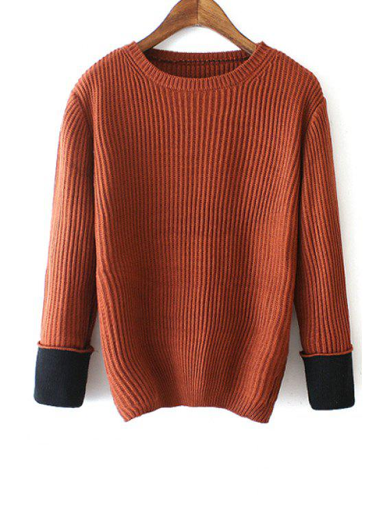 outfit Long Spliced Sleeves Round Collar Pullover Sweater - COFFEE ONE SIZE(FIT SIZE XS TO M)