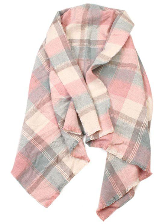 latest Plaid Pattern Fringed Scarf - PINK