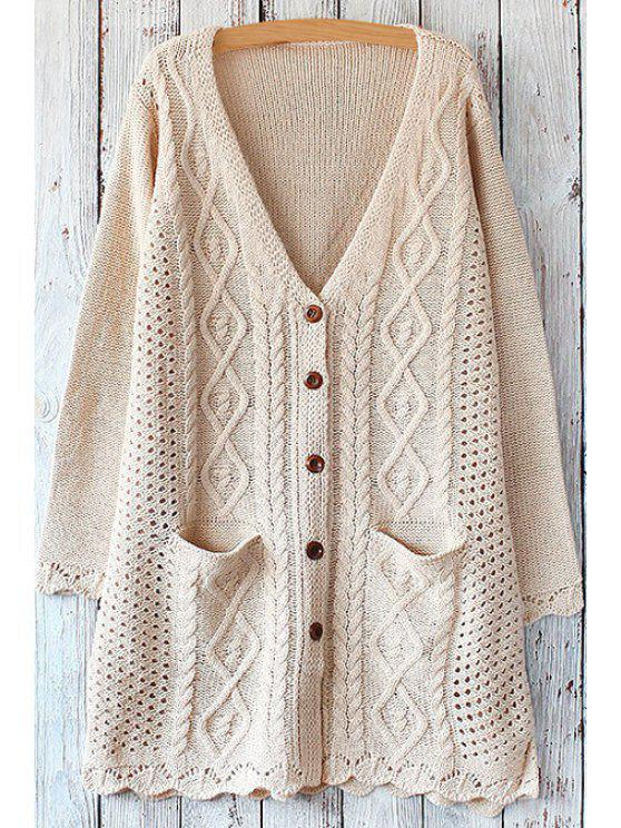 women's Cable Knit Single-Breasted Cardigan - OFF-WHITE ONE SIZE(FIT SIZE XS TO M)