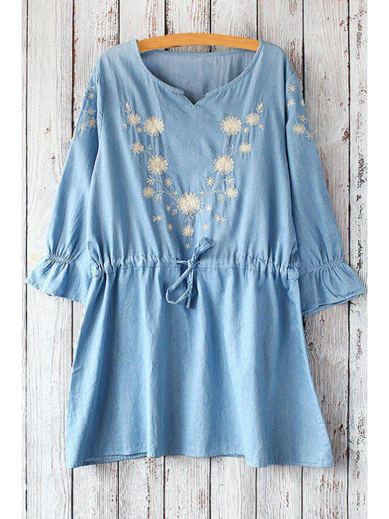 lady 3/4 Sleeve Dandelion Pattern Dress - LIGHT BLUE ONE SIZE(FIT SIZE XS TO M)