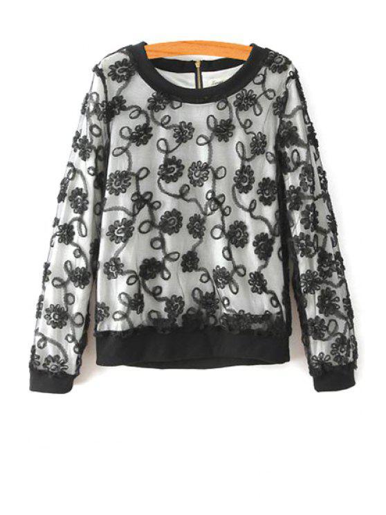 fancy Flower Print Round Collar Long Sleeves Lace Sweatshirt - BLACK L