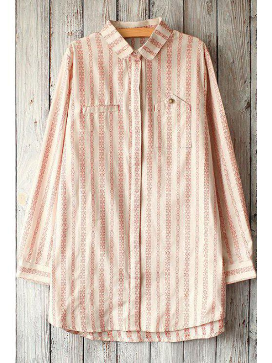 online Single-Breatsed Striped Shirt - BEIGE ONE SIZE(FIT SIZE XS TO M)