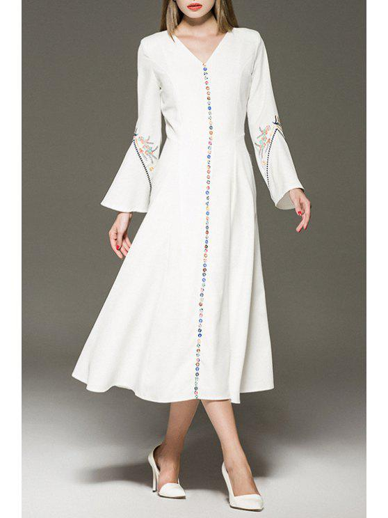unique V-Neck Bell Sleeves Embroidery Flower Print Maxi Dress - WHITE S