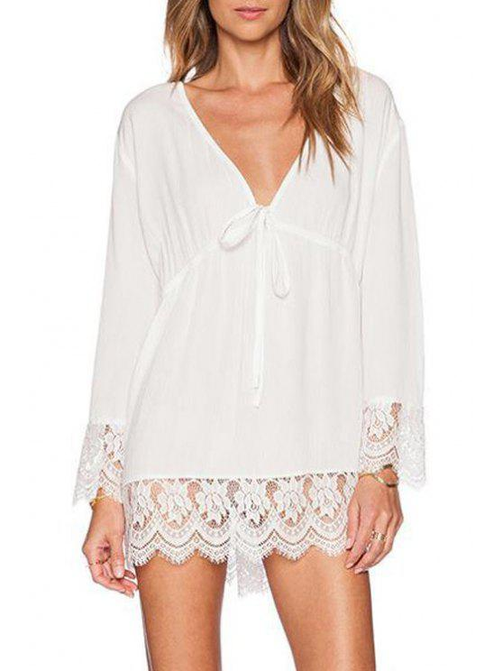 women's Lace Spliced Plunging Neck Long Sleeves Dress - WHITE S