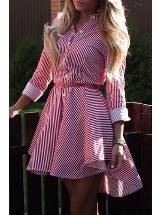shops Striped Single-Breasted Dovetail Dress - RED S